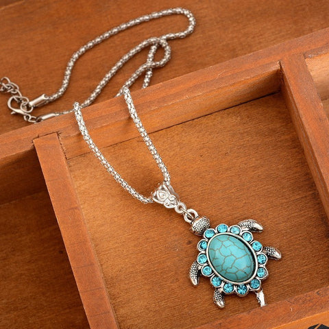 Necklace - Turquoise Rhinestone Turtle