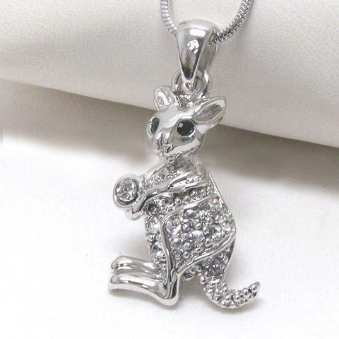 Rhinestone Kangaroo Necklace