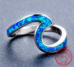 Sterling Silver Ocean™ Opal Wave Ring