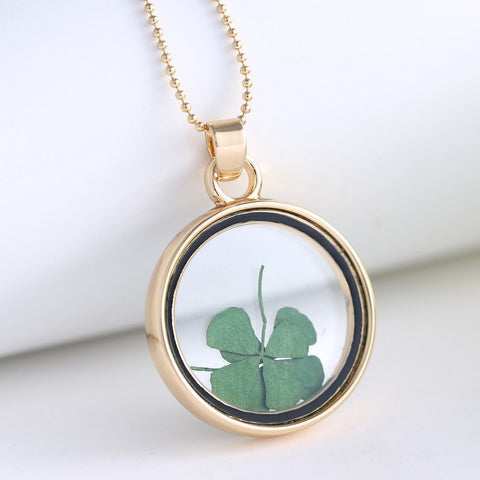 Four Leaf Dried Clover Necklace