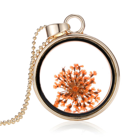Dried Orange Flowers Gold Round Necklace
