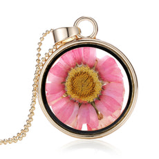 Dried Pink Sunflower Round Necklace
