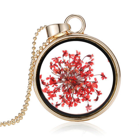 Dried Red Flowers  Round Gold Necklace