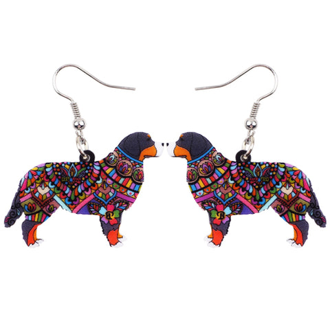 Bernese Mountain Dog Acrylic Earrings