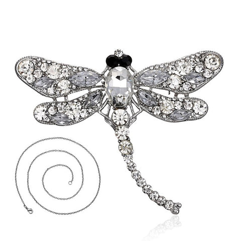 Vintage Rhinestone dragonfly Necklace&Brooch In One