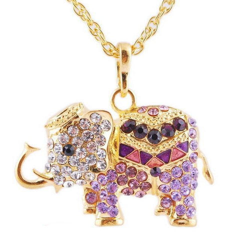 Vintage Rhinestone Elephant Necklace