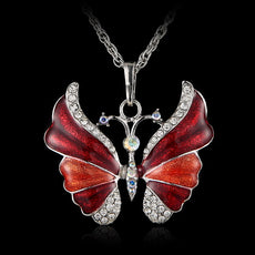 Vintage Enamel Butterfly Necklace