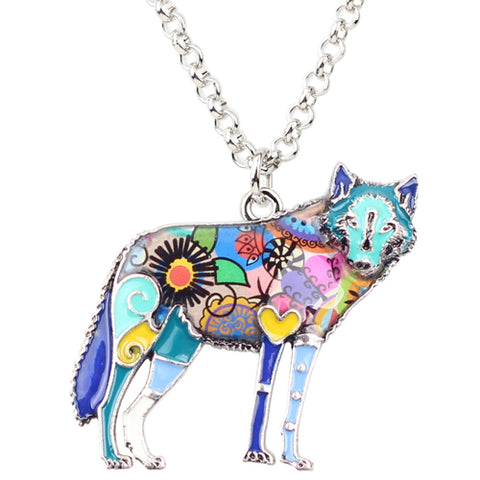 Multicolor Wolf Necklace