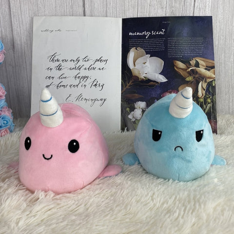 Reversible Narwhal Plush (blue-pink double sided flip plush)