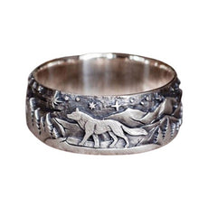 """Under The Stars"" Wolf Ring"