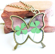 Dried Clover Butterfly Necklace