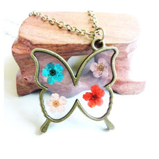 Dried Multicolor Butterfly Necklace