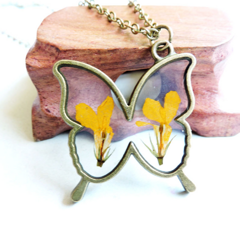 Dried Yellow Butterly Necklace