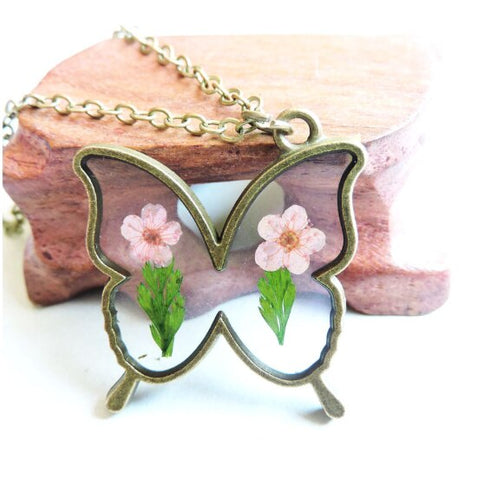 Dried Pink Butterfly Necklace