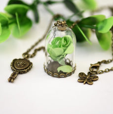 Dried Green Rose Necklace