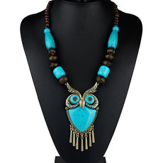 Wood Beads Owl Necklace