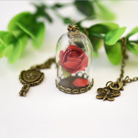 Dried Red Rose Necklace