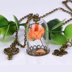 Dried Orange Rose Necklace