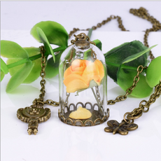 Dried Yellow Rose Necklace