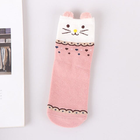 Happy Pink Animal Socks