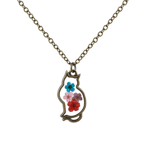 Cute Cat Shaped dried Flower Necklace