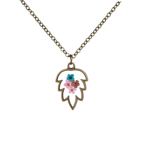 Leaf Shaped Flower Necklace
