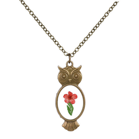 Owl Shaped Flower Necklace