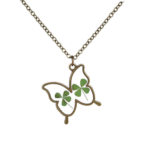 Butterfly Shaped dried flower Necklace
