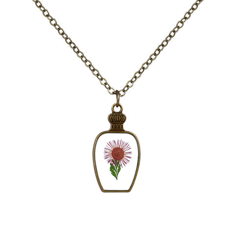 Bottle Shaped Big Flower Necklace