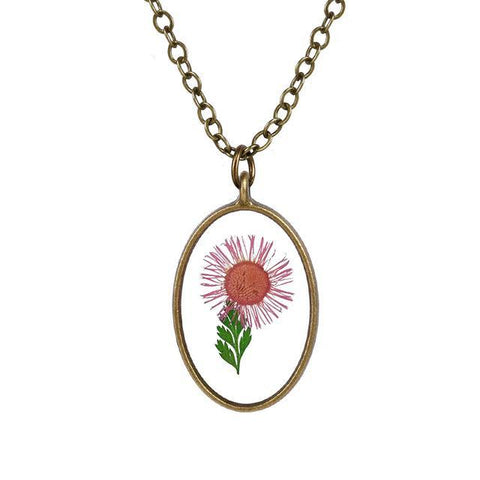 Oval Shaped Big Flower Necklace