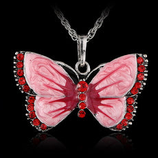 Vintage Rhinestone Butterfly Necklace