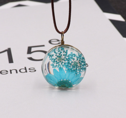 Blue Dried Ball Necklace