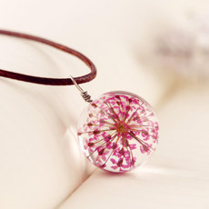 Pink Flower Glass Necklace