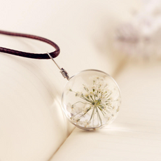 White Flower Glass Necklace