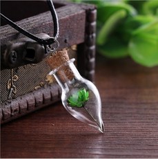 Green Flower Bottle Necklace