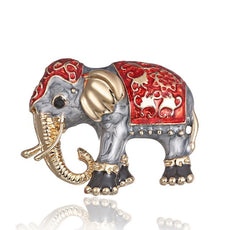 Red Elephant Brooch