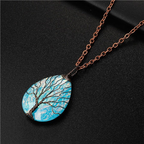 Blue Tree of Life Stone Necklace