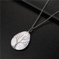 White Tree of Life Stone Necklace