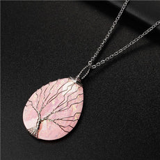 Pink Tree of Life Stone Necklace