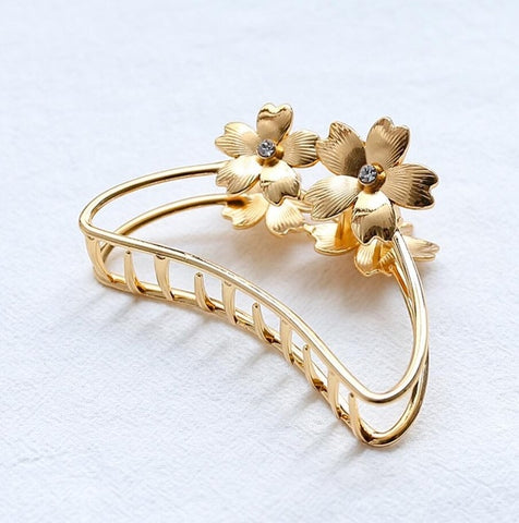 Gold Metal Flower Hair Claw