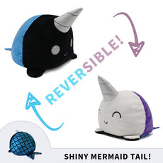 Reversible Narwhal Plush (multicolor double sided flip plush)