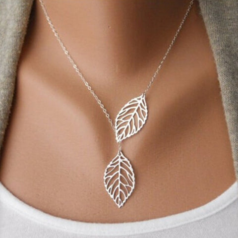 Free double leaf necklaces