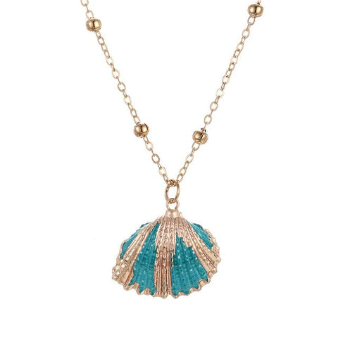 Blueish Gold Shell Necklace