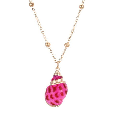 Bright Pink Shell Necklace