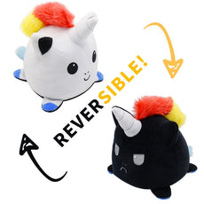 Reversible Unicorn Plush (black-white double sided flip plush)