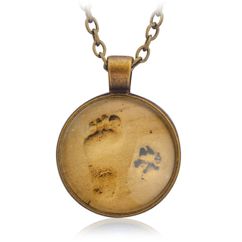Paw & Footprint in the Sand Necklace