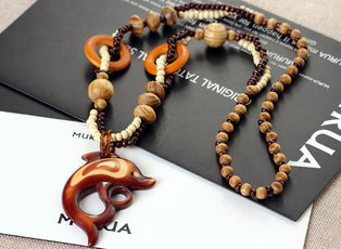 Wood Dolphin Necklace
