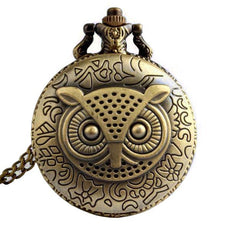 Owl Quartz Pocket Watch