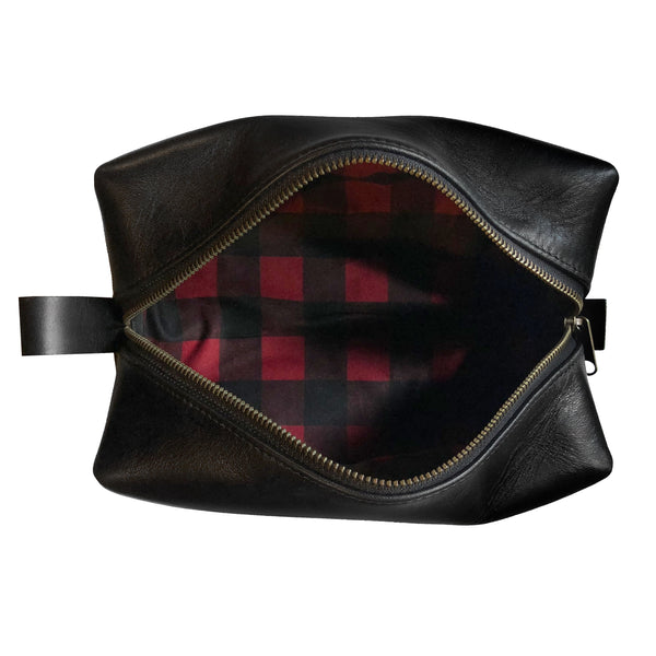 Dopp Kit | Horween Essex Rookery Leather x Buffalo Plaid Wax Canvas