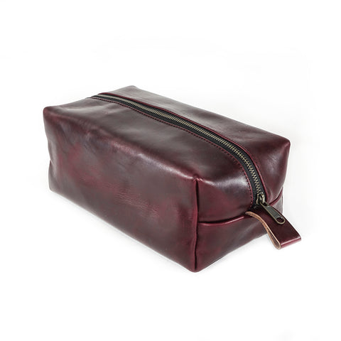 Dopp Kit | Horween OxBlood Leather | Autumn Plaid Wax Canvas Lining | Limited Qty